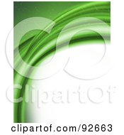 Background Of Curving Sparkly Green Abstract Waves Over White