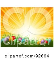 Royalty Free RF Clipart Illustration Of An Orange Sunset Over Colorful Easter Eggs In Spring Grass