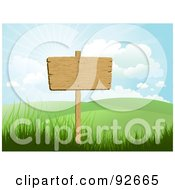 Blank Wooden Sign Posted In A Hilly Landscape Under A Sunny Sky