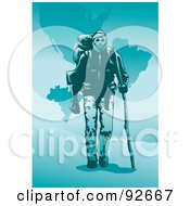 Royalty Free RF Clipart Illustration Of A Backpacker Trekking 9