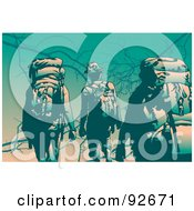 Royalty Free RF Clipart Illustration Of Backpackers Trekking