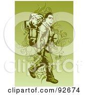Royalty Free RF Clipart Illustration Of A Backpacker Trekking 2