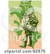 Royalty Free RF Clipart Illustration Of A Backpacker Trekking 8