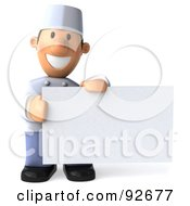 Royalty Free RF Clipart Illustration Of A 3d Chef Toon Guy Holding A Blank White Sign
