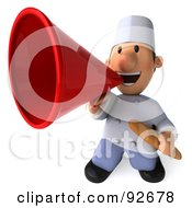 Royalty Free RF Clipart Illustration Of A 3d Chef Toon Guy Announcing