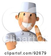Royalty Free RF Clipart Illustration Of A 3d Chef Toon Guy With A Sign And Bread