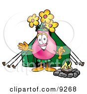 Vase Of Flowers Mascot Cartoon Character Camping With A Tent And Fire