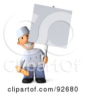 Royalty Free RF Clipart Illustration Of A 3d Chef Toon Guy Holding A Sign On A Pole
