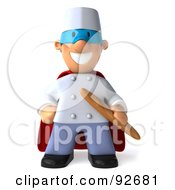 Royalty Free RF Clipart Illustration Of A 3d Super Chef Toon Guy Holding Bread