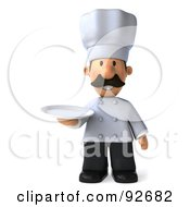 Royalty Free RF Clipart Illustration Of A 3d Chef Man Holding A Plate