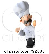 Royalty Free RF Clipart Illustration Of A 3d Chef Man With A Blank Sign 2