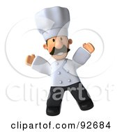 Royalty Free RF Clipart Illustration Of A 3d Chef Man Jumping