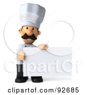 Royalty Free RF Clipart Illustration Of A 3d Chef Man With A Blank Sign 4