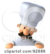 Royalty Free RF Clipart Illustration Of A 3d Chef Man With A Blank Sign 1