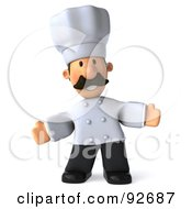 Royalty Free RF Clipart Illustration Of A 3d Chef Man Gesturing Front
