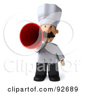 Royalty Free RF Clipart Illustration Of A 3d Chef Man Announcing 1 by Julos