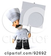 Royalty Free RF Clipart Illustration Of A 3d Chef Man With A Blank Sign 3