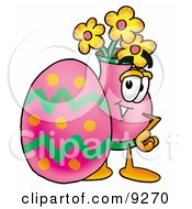 Vase Of Flowers Mascot Cartoon Character Standing Beside An Easter Egg
