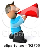 Royalty Free RF Clipart Illustration Of A 3d Casual Man Announcing 3