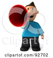 Royalty Free RF Clipart Illustration Of A 3d Casual Man Announcing 1 by Julos