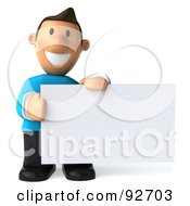 Royalty Free RF Clipart Illustration Of A 3d Casual Man With A Blank Sign 4