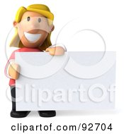Royalty Free RF Clipart Illustration Of A 3d Casual Woman With A Blank Sign 2