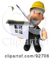 Royalty Free RF Clipart Illustration Of A 3d Male Architect Guy Holding A House His Hand Out