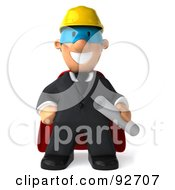 3d Male Super Architect Guy Holding Blueprints