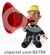 Royalty Free RF Clipart Illustration Of A 3d Male Architect Guy Announcing