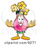Poster, Art Print Of Vase Of Flowers Mascot Cartoon Character With Welcoming Open Arms