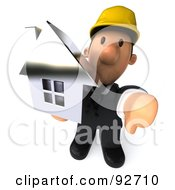 3d Male Architect Guy Holding A House His Thumb Down