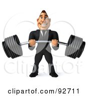 Royalty Free RF Clipart Illustration Of A 3d Macho Businessman Holding A Heavy Barbell 1 by Julos