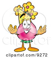 Vase Of Flowers Mascot Cartoon Character Wearing A Birthday Party Hat by Toons4Biz