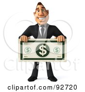 Royalty Free RF Clipart Illustration Of A 3d Macho Businessman Holding A Large Dollar Bill 1