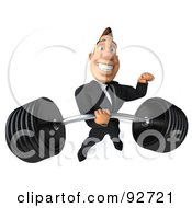 Royalty-Free (RF) Clipart Illustration of a 3d Macho Businessman Holding A Heavy Barbell - 3 by Julos