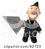 Royalty Free RF Clipart Illustration Of A 3d Business Toon Guy Holding An Envelope 2