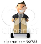 Royalty Free RF Clipart Illustration Of A 3d Business Toon Guy Moving Boxes On A Dolly 1