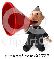 Royalty Free RF Clipart Illustration Of A 3d Business Toon Guy Announcing