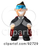 Royalty Free RF Clipart Illustration Of A 3d Business Toon Guy Super Hero