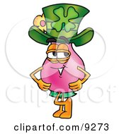 Vase Of Flowers Mascot Cartoon Character Wearing A Saint Patricks Day Hat With A Clover On It