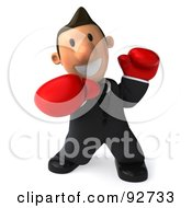 Royalty Free RF Clipart Illustration Of A 3d Business Toon Guy Boxing 1
