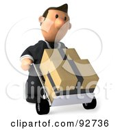 Royalty Free RF Clipart Illustration Of A 3d Business Toon Guy Moving Boxes On A Dolly 2