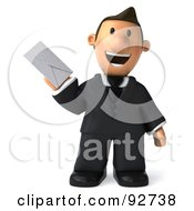 Royalty Free RF Clipart Illustration Of A 3d Business Toon Guy Holding An Envelope 1