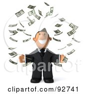 Royalty Free RF Clipart Illustration Of A 3d Business Toon Guy Surrounded By Falling Money 1 by Julos