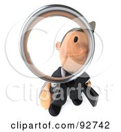Royalty Free RF Clipart Illustration Of A 3d Business Toon Guy Peering Through A Magnifying Glass 2