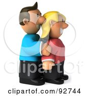 Royalty Free RF Clipart Illustration Of A 3d Casual Couple Posing 1