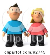 Royalty Free RF Clipart Illustration Of A 3d Casual Couple Facing Front