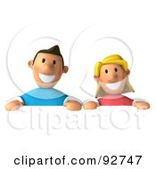 3d Casual Couple Over A Blank Sign