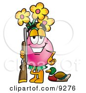 Vase Of Flowers Mascot Cartoon Character Duck Hunting Standing With A Rifle And Duck by Toons4Biz