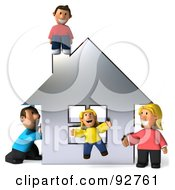 Royalty Free RF Clipart Illustration Of A 3d Happy Caucasian Family With A House 3